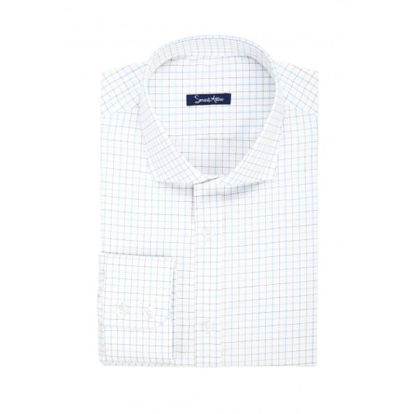 Мужская рубашка в голубую клетку Twill Slim Fit