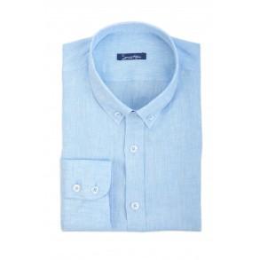 Голубая льняная рубашка Slim Fit