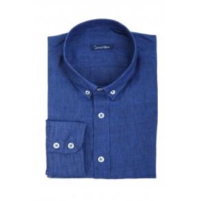 Синяя льняная рубашка Slim Fit