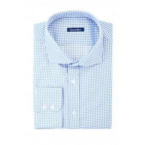 Мужская рубашка в синюю клетку Twill Slim Fit