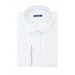 Мужская рубашка в синюю тонкую клетку Twill Slim Fit