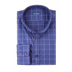 Синяя рубашка в белую клетку Twill Slim Fit