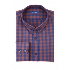 Коричневая рубашка в клетку Flannel Slim Fit