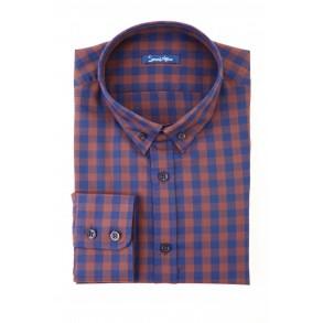 Коричневая рубашка в клетку Flannel Tailored Fit