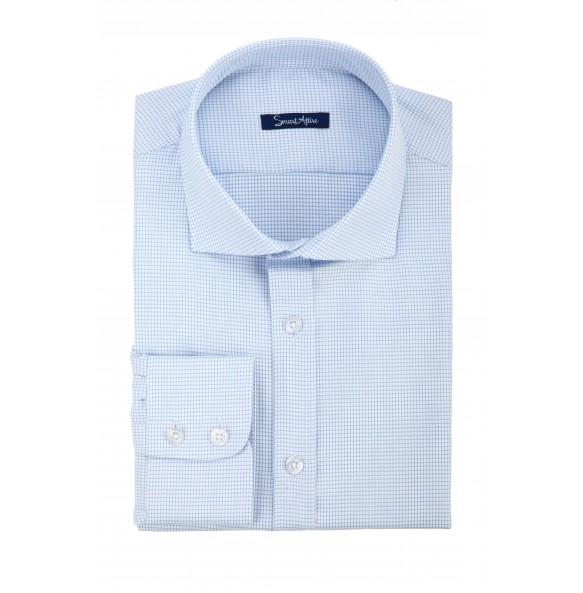 Мужская голубая рубашка Dobby Slim Fit