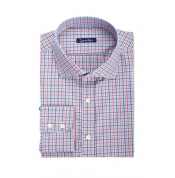 Мужская рубашка в красную клетку Slim Fit