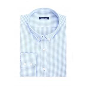 Мужская рубашка в голубую клетку Slim Fit