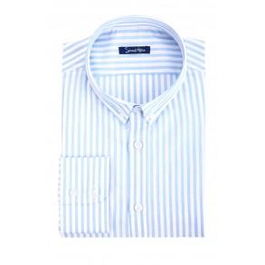 Льняная рубашка в голубую полоску Slim Fit