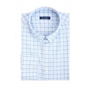 Льняная рубашка в голубуб клетку Slim Fit