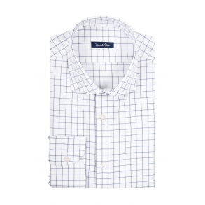 Рубашка в тонкую синюю клетку Twill Slim Fit
