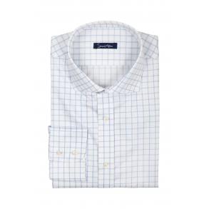 Мужская белая рубашка в крупную голубую клетку Twill Slim Fit