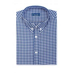 Мужская рубашка в мелкую синюю клетку Casual Poplin