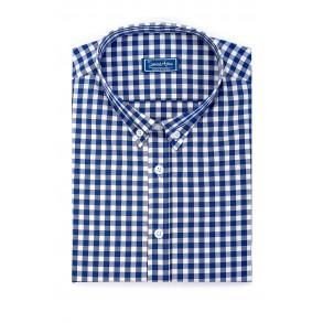 Мужская рубашка в крупную синюю клетку Casual Poplin